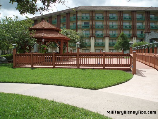 The rear view of the beautiful Shades of Green Resort at Walt Disney World