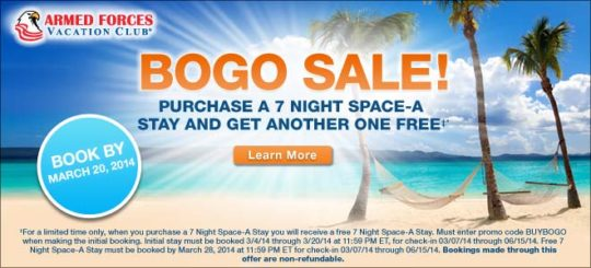 Armed Forces Vacation Club BOGO