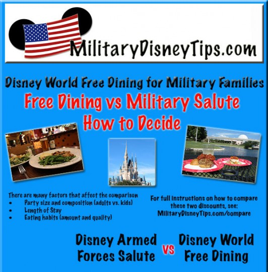 Compare Disney Free Dining to the Disney Armed Forces Salute