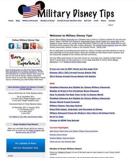 Military Disney Tips Through the Years - 2011 to 2012