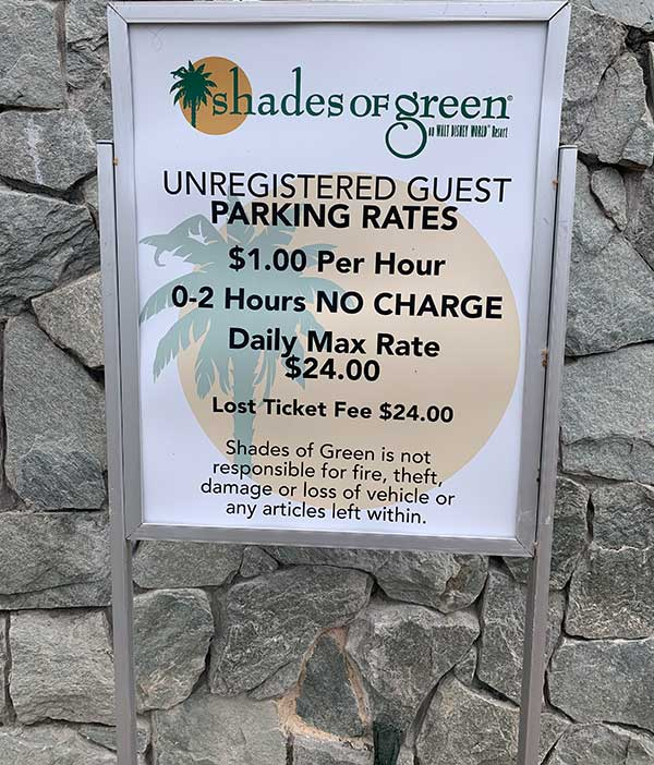 Shades of Green Increases Parking Rates