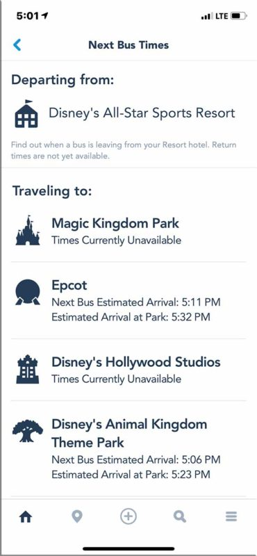 My Disney Experience App - Bus Wait Times