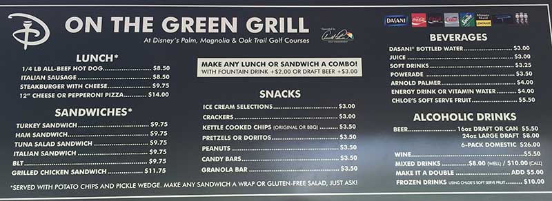On the Green Grill Menu